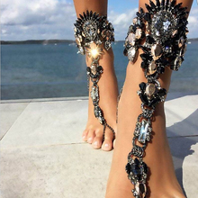 AOCARLA 2017 Fashion Ankle Bracelet Wedding Barefoot Sandals Beach Foot Jewelry Sexy Pie Leg Chain Female Boho Crystal Anklet