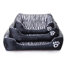 Zebra Style Canvas Dog House Dog Bed Soft Dog Kennel For Pets Cat Puppy Home Shape Animals House Sofa Cushion Products Removable(China)