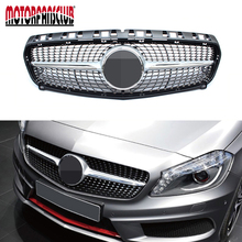 For Mercedes W176 A Class Diamond grille grill AMG A45 A160 A180 A200 A250 OEM 2016 Black with Chrome Diamonds(China)