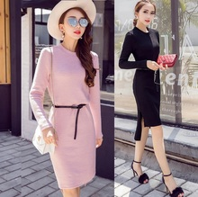 Frees ship 2016Women plus size autumn winter knitted dress stretchy dress short in front long female casual vestidos XXXXL 98538