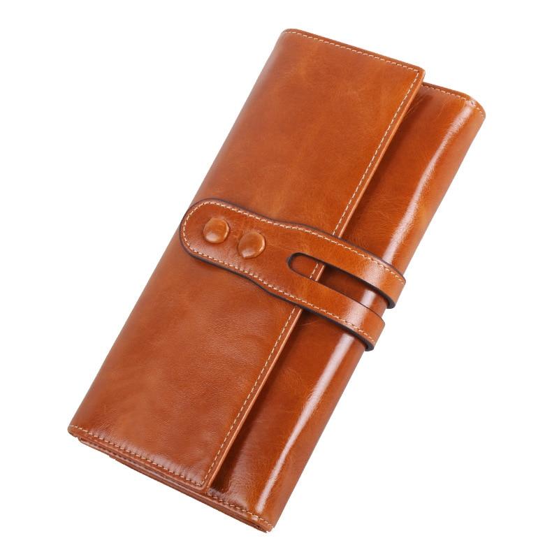 2017 New Arrival Genuine Leather Purse Women Cow Leather Solid Zipper Wallets Long Ladies Buckle Oil Wax Wallet<br>