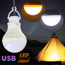 USB LED Light Bulb 7W 5730 SMD Portable Camping Lamp Night Light with Hook Switch Emergency Lighting Pure White Warm White DC5V(China)