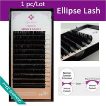 Genie 1pcs/lot Ellipse Flat Fse Eyelash extensions Soft Thin Tip Flat Roots Fake Eyelash Extensions(China)