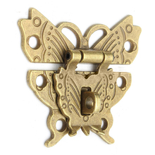 Beautiful Butterfly Design Antique Bronze Hasp Latch Jewelry Wooden Box Lock Cabinet Buckle Case Locks Handle Hardware Accessory(China)