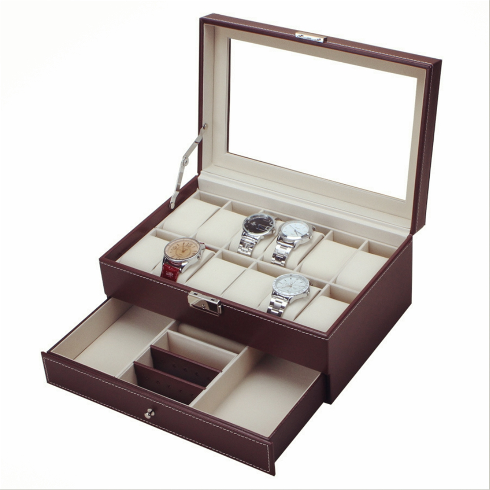 2017 Original Multifunctional Drawer-style PU Watch Box Collection Jewelry Display Collection Storage Case Watches Boxes Holder <br>