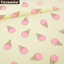 Teramila Fabric Pink Ice-scream Pattern 100% Cotton Fabric Twill Fat Quarter Home Textile Quilting Tissue Craft Decoration(China)