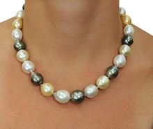 DYY HOT## Wholesale > > RARE TAHITIAN  SOUTH SEA BLACK BLUE GREY PEARL NECKLACE 18inch
