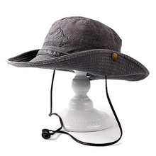 Adult Men Hats Summer Retro 100% Cotton Bucket Hat With Embroidered Fashion Adjustable Size Casual Novelty Dad Hat Fishing Caps