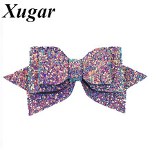 5'' Boutique Bowknot Princess Hairgrips Glitter Bling Hair Bows with Clip Dance Party Girls Hairpins Hair Accessories(China)