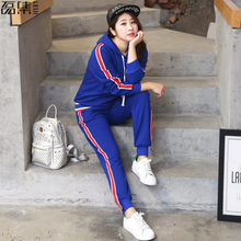 2017 autumn Sportswear Women Casual Suits plus Size Zipper Lady Tracksuits Lady(China)