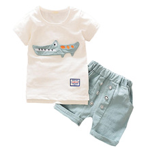 BibiCola Cartoon Summer Baby Boy Clothing Set Toddler Top + Shorts 2pcs Kid Boy Sport Set Children Boy Clothes Set(China)