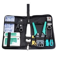 Network Tool Bag 11 in 1 Crimping Knife / LAN cable tester / Wire stripping / screwdriver / connector Computer Maintenance Kits(China)