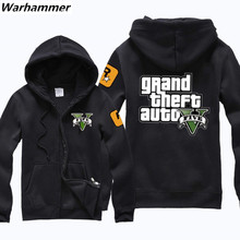 Rockstar Games Grand Theft Auto GTA5 Long Sleeve Causal Zip Up Hoodie Tops man's Jackets warm& softe hooded coats quick shipping
