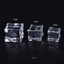 10pcs/lot Clear Square Fake Artificial Acrylic Ice Cubes Crystal Home Display Decor Artificial Cubes Wholesale 3 Sizes(China)