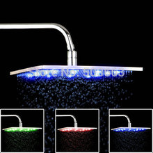 "2015 New Brand 12""  LED Light Shower Head Water Power NO Need Batteries Chrome Bathroom Basin Sink Faucet Mixer Tap Shower Head"