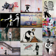 Banksy Hero Time is Gone Canvas Art Prints Paintings Wall Art Poster Pop Decoration Pictures Wall Art Decorative No Frame