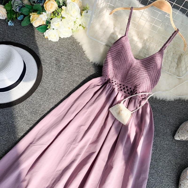 19 new fashion women's dresses Fresh openwork knit stitching V-neck strap high waist dress 14