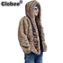 2017 Winter Men Faux Mink Fur Hooded Artificial Fur Coats Male Horn Button Fur Outerwear Casual Plus Size Fur Jacket 4XL 5XL