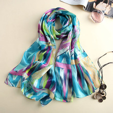 Shawls and Scarves Women New Designer Soft Bright Printed chiffon Scarf Winter Charpes Silk Hijab Scarf Women(China)