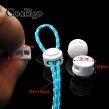 100pcs Pack White Plastic Cord Lock Clip Clamp 2 hole Toggle Stopper 2mm Rope Paracord Garment Shoes #FLS029-W