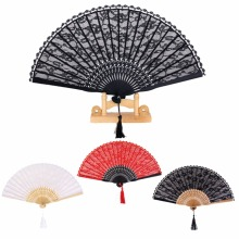 Retro Lace Trim Bamboo Hand Fan Folding Fan Dancing Party Fan