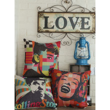 Pillow Case Audrey Hepburn Marilyn Monroe Chaplin Cotton Linen Car Sofa Chair Seat 18x18 Inches Square Cushion Covers