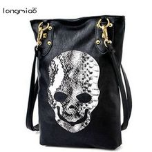 longmiao Skull Messenger Bag Promotional Ladies Luxury Leather Handbag Skeleton Head Handbags Snake Pattern Bag Malas Femininas