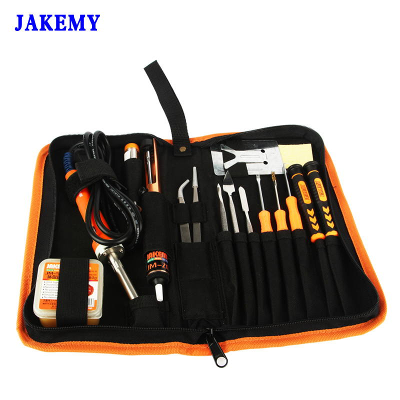 JAKEMY 17 in 1 Electric Soldering Iron Set 30W 220V DIY Solder Kits With Iron Stand Soldering Sucker Paste Welding Tools<br>
