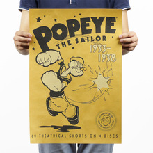Popeye the Sailor Vintage Kraft Paper Classic Movie Poster Map Home Decor Wall Decal Art Removable Retro Painting(China)