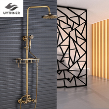 "Uythner Antique Brass Bathroom Rainfall Shower Faucet 8"" Brass shower head + Commodity Shelf +Clothing & Towel Hooks(China)"