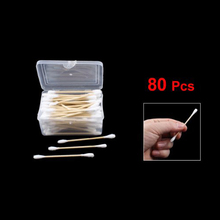 JEYL Hot New 80Pcs Disposable Double End Wood Tube Cotton Swab Bud w Rectangle Shaped Case(China)