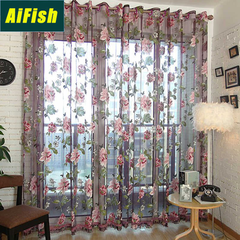 Pastoral Rustic Purple Flowers Sheer Voile Curtains for Living Room Kitchen Bedroom Windows Curtains Tulle Draperies WP223# 30