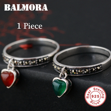 BALMORA 100% Real 925 Sterling Silver Retro Elegant Jewelry Green & Red Heart Rings for Women Lover Mother's Day Gifts MN20396(China)