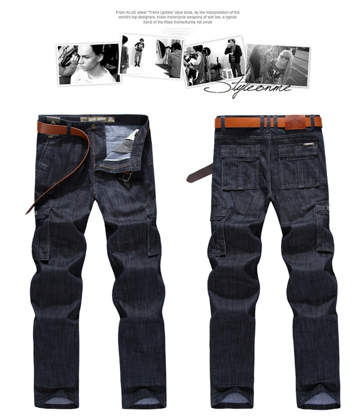 Cargo Jeans Men Big Size 29-40 42 Casual Military Multi-pocket Jeans Male Clothes 17 New High Quality 2