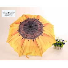 Creative Sunflower Women Fashion 3 Folding Umbrella Sun/Rain Anti-UV Mabu Umbrellas Unique Manual Flower Parasol Sunshade