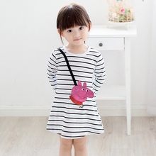 Lovely Baby Girls Dresses Autumn Cartoon Pink Pig Striped Dress Cotton Clothes Children Clothing For New Year Christmas Gift
