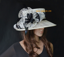 NEW Cream black Polka dot Sinamay Hat dress hat w/cocktail feather for Ascot Races,Melbourne Cup, kentucky derby.Wedding,church(China)