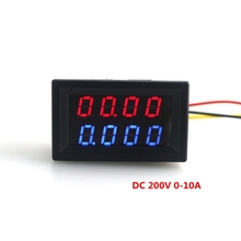 DC 0-200V/10A Voltmeter Ammeter Red Blue LED Voltage Current Tester Meter