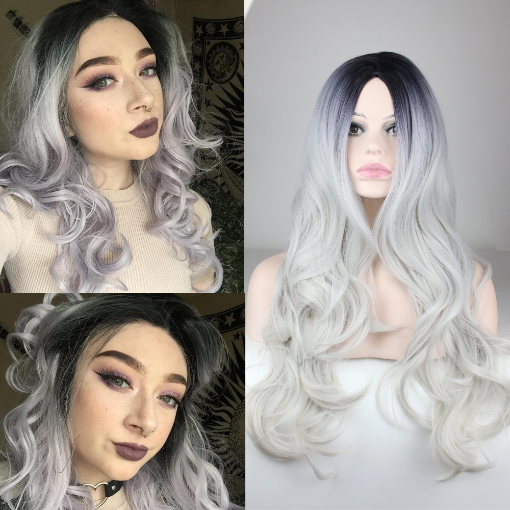 New Arrived Wavy Black Root Gray  Wig Long Ombre No Lace Synthetic Wig  for  Women Cheap Free Shipping<br><br>Aliexpress