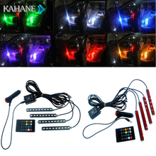 Car Styling Atmosphere Lamps Interior Light with Remote RGB LED Strip Light Music Control LED 8 Colors for Universal Jeeps