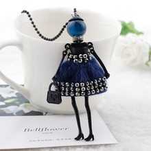 Women Ladies with Rhinestone Dress Doll Necklace plush cloth long stylish sweater chain jewelry accessories  free shippings
