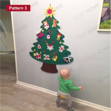 2017 NEW Kids DIY Felt Christmas Tree Set with Ornaments Children Gift Toddler Door Wall Hanging Preschool Craft Xmas Decoration(China)