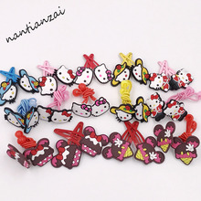 14PCS Cartoon Pink Korean Hello Kitty Elastic hair bands Hairclips Children Girl Hair rope Hair pins Hair Accessories Kids Gift(China)