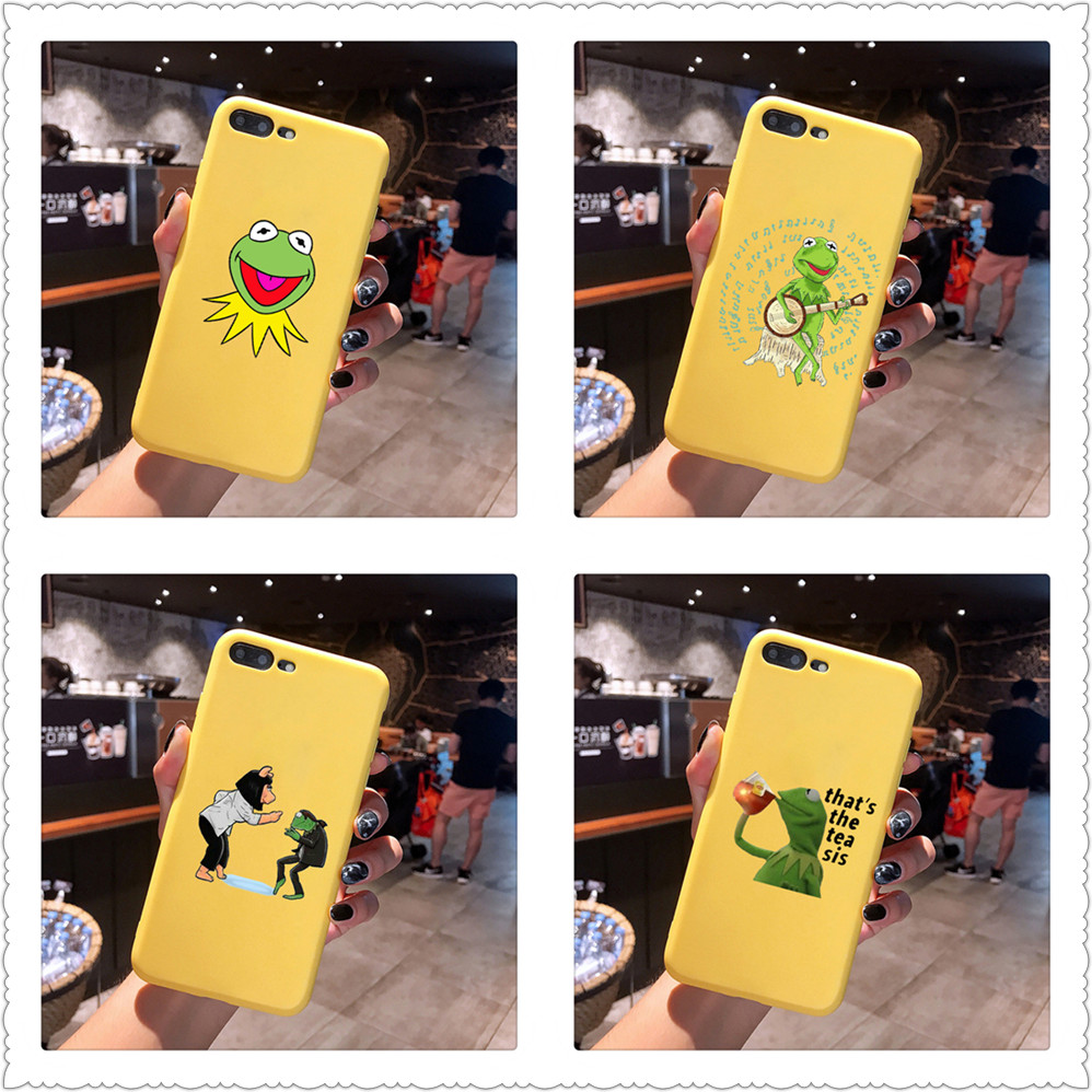 Funny Cute kermit the frog Candy Color TPU Case phone For iphoneX 7 8 XS XR XSMAX Red Yellow purple White Cover