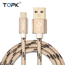 Topk Micro USB Cable Striped Cotton Braided Wire Aluminum Casing Gold-plated Connector for Samsung Sony Xiaomi Huawei HTC