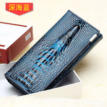 New crocodile pattern genuine leather men women three folded money clip ID card change holder clips(China)