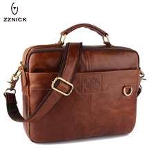 ZZNICK New Men Genuine Oil Wax Leather Business bags Laptop Tote Briefcases Crossbody bag Shoulder Handbag Men's Messenger Bag(China)