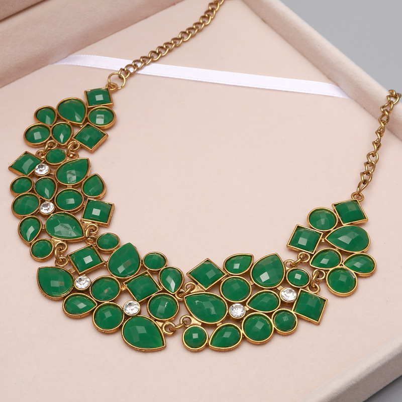 MINHIN New Popular Colors Multicolor Big Pendant Clavicle Chain Necklace Women's Delicate Banquet Jewelry 8