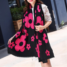2017 Women Cashmere Flower Soft Scarf Girls Autumn Winter Warm Fashion Scarves Shawl Mother Ladies 5Colors Wrap Muffler Gifts