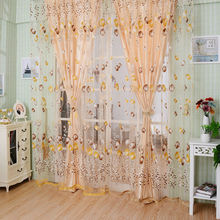 1PC Tulip Floral Curtain Door Window Screening Curtain Sheer Drape Panel Scarfs Voil Curtain 1m*2m(China)